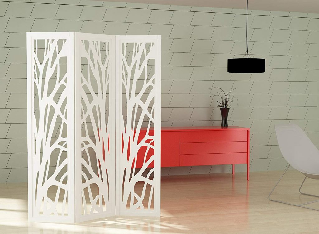 mouk biombo decorativo lacado blanco